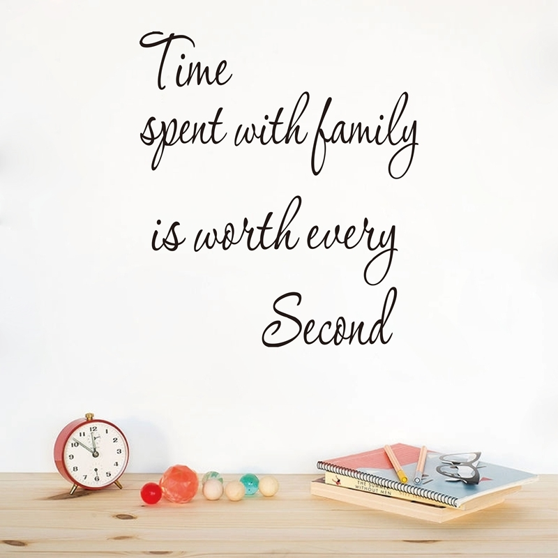 Wall Stickers Family - TIME SPENT WITH FAMILY Wall Art Decal Quote Words Lettering Decor Sticker Design F014
