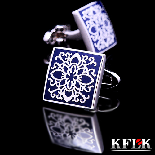 KFLK shirt cufflinks for mens Brand cuff buttons blue art cuff link top grade gemelos High Quality abotoaduras Designer Jewelry