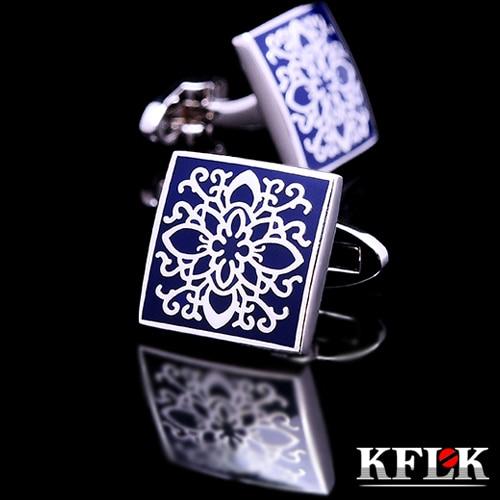 KFLK Shirt Cufflinks For Mens Brand Cuff Buttons Blue Art Cuff Link Top Grade Gemelos High Quality Abotoaduras Designer Jewelry