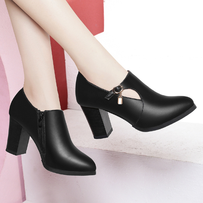 Women Shoes Autumn Winter PU Leather Pointed Toe 8cm Thick High Heel Solid Mom Shoes Zipper Wedding Female Pumps Boots Plus Size