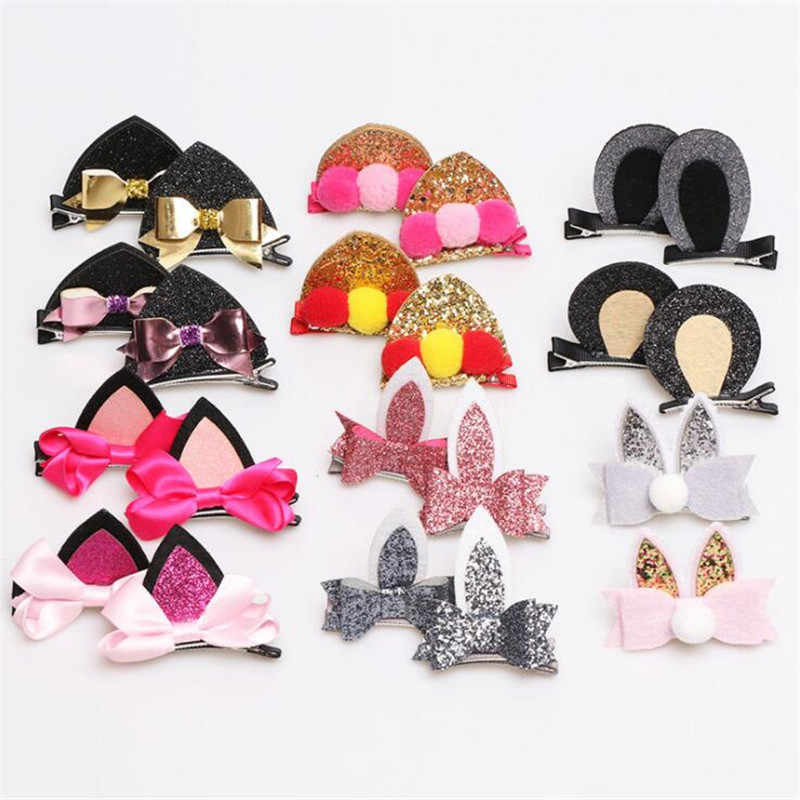 2x Girls Cute Cat Ears Hair Clips Children Lovely Hairpins Hair Accessories Kids