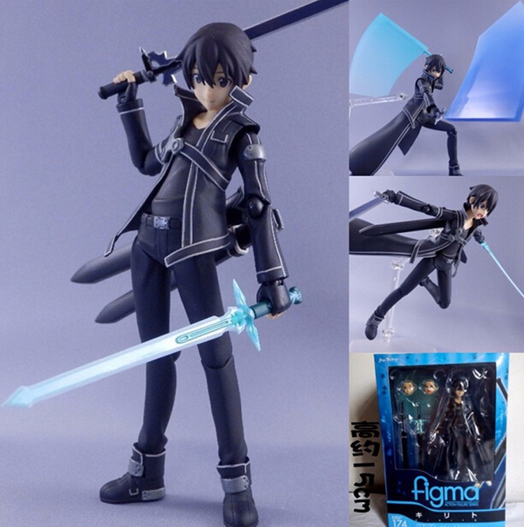 Anime Sword Art Online SAO Kirito Action Figure 6 Collection Kirigaya Kazuto Movie Model ...