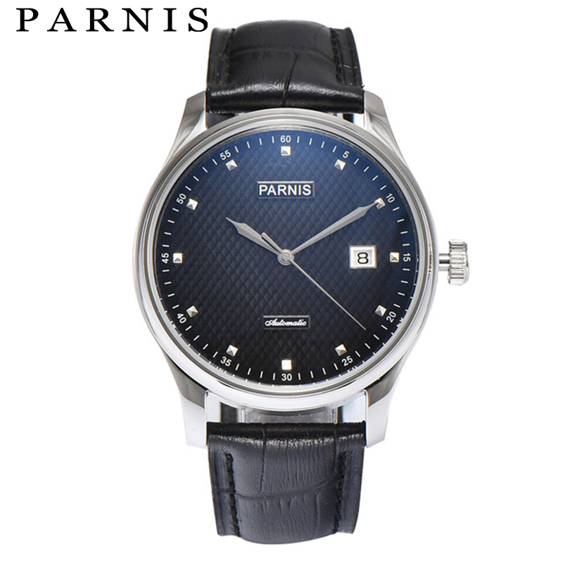 Parnis Men's Mechanical Watch Stainless Steel Case Sea Gull 2551 Blue Gentleman Automatic Wrist Watch Male orologio uomo цена