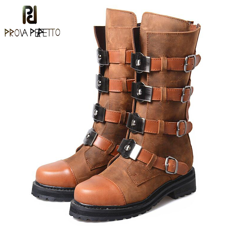 Prova Perfetto Genuine Leather Mixed Metal Decoration Mid-calf Boots Square Toe Thick Heel Buckle Belt Retro Matrin Boots Women prova perfetto winter women warm snow boots buckle straps genuine leather round toe low heel fur boots mid calf botas mujer