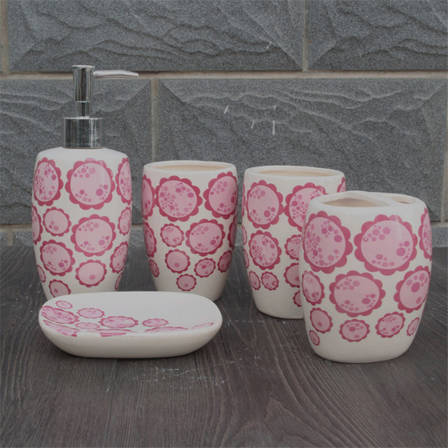 Cherry Blossom Five Piece Ceramic Bathroom Set Toothbrush Holder ...