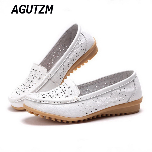 AGUTZM 2018 Women Loafers Lady Ballerina Flat Shoes Woman Summer Flats Hollow Out Comfortable Soft Genuine Leather Moccasins hollow out breathable women sandals bowtie loafers sweet candy colors women flats solid summer style shoes woman st6 29