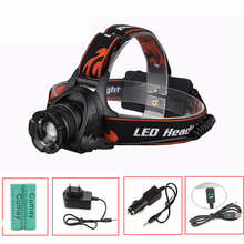 3800LM XML L2 LED Zoom Waterproof Headlamp Headlight Zoomable Head Torch Flashlight Lamp Light+18650 battery+ AC Car USB Charger