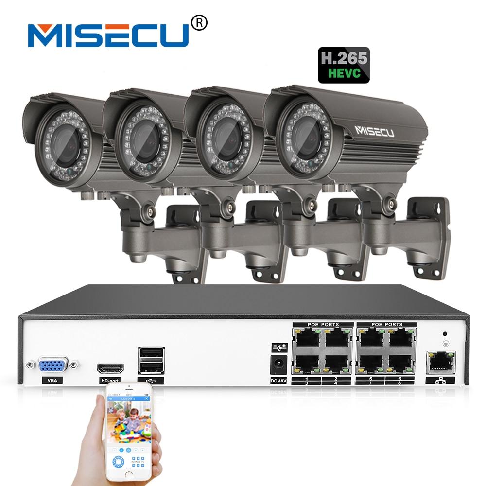 MISECU H.265 4.0MP 4K 48V 2.8-12mm zoom 8Ch POE  Hi3516D OV4689 P2P HDMI 4pc Metal 36pc IR night vision XMeye Surveillance CCTV