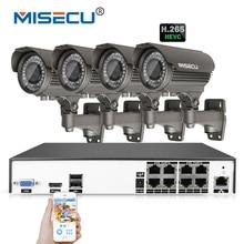 MISECU 4.0MP H.265 4 K 48 V 2.8-12mm zoom 8Ch POE Hi3516D OV4689 P2P HDMI 4 pc Metal 36 pc IR night vision XMeye Nadzoru CCTV