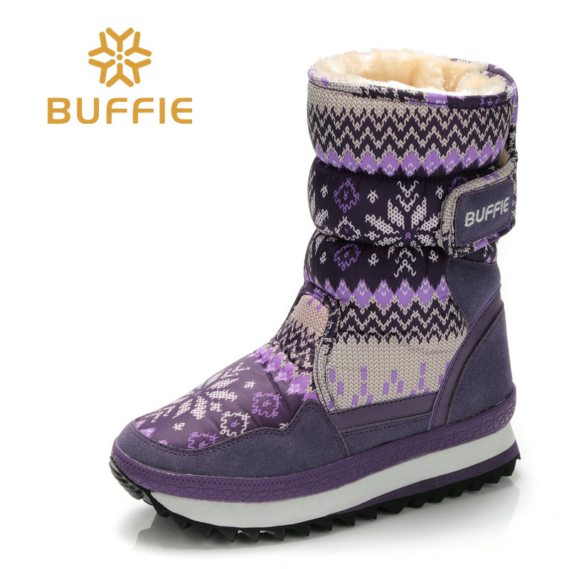 Boots women waterproof winter shoes snow boots plush warm fur antiskid outsole girl nice Buffie brand shoes style fashion shoes hama 102099 white