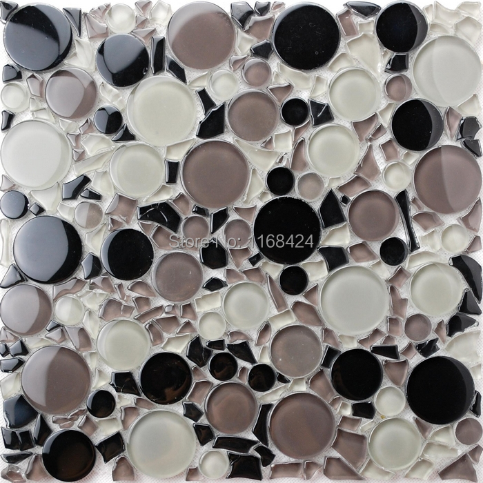 black mixed gray and clear color small and big round glass mosaic tiles for kitchen backsplash tile bathroom shower fireplace