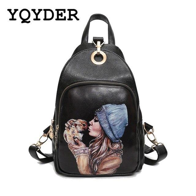 08e32a4ebc66 Backpack Women Korean Printed Soft Leather School Bags Ladies Fashion  Multifunctional Shoulder Bag Designer Female Travel