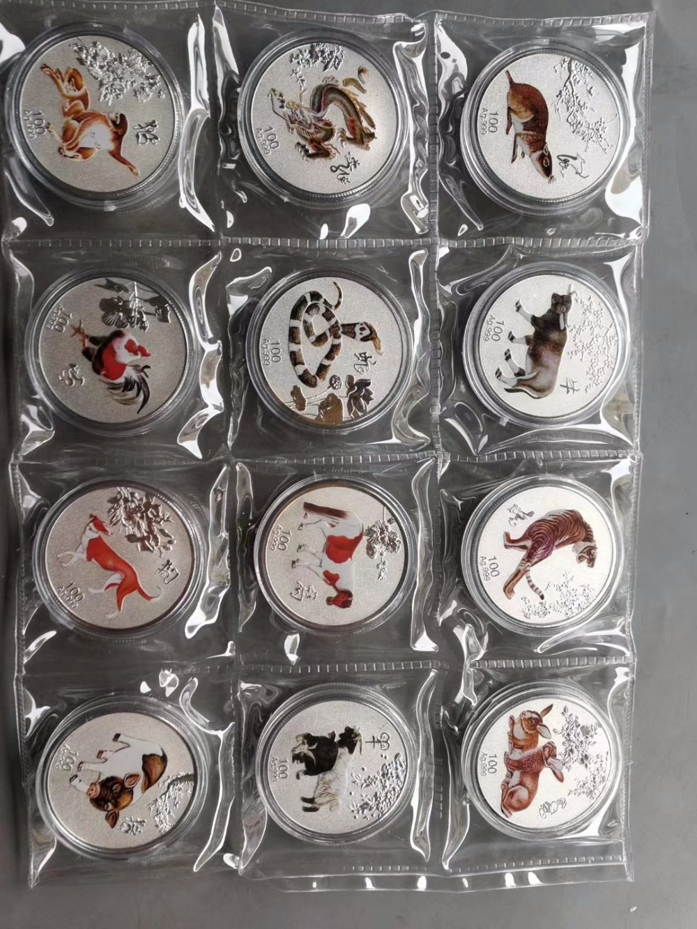 1oz zodiac animal coins set Chinese silver coin 12pcs for collection gift