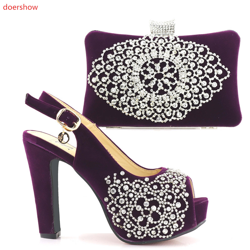 doershow African Women Matching Italian Shoe and Bag Set Decorated with Rhinestone Nigerian Shoes and Bag Set for party SHV1-3 doershow italian shoe with matching bag silver african shoe and bag set new design matching shoes and bags for party bch1 6
