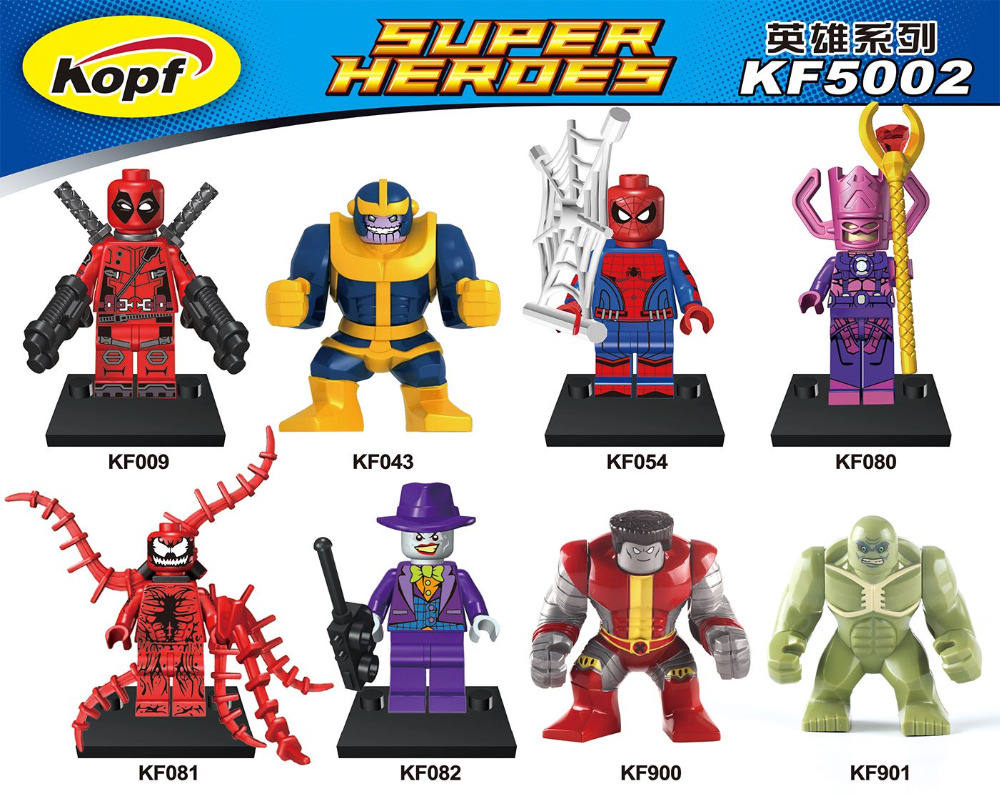 Super Heroes Colossus Hulk Thanos Galactus Garnage Darth Vader Spiderman Purple Joker Building Blocks Toys for children KF5002