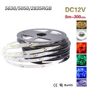 Image 5 - LED şerit 2835 5050 5630 beyaz sıcak beyaz LED şerit 5M 60Leds/M 300Led SMD RGB lambaları DC12V esnek işıklı bant şerit Ledstrip