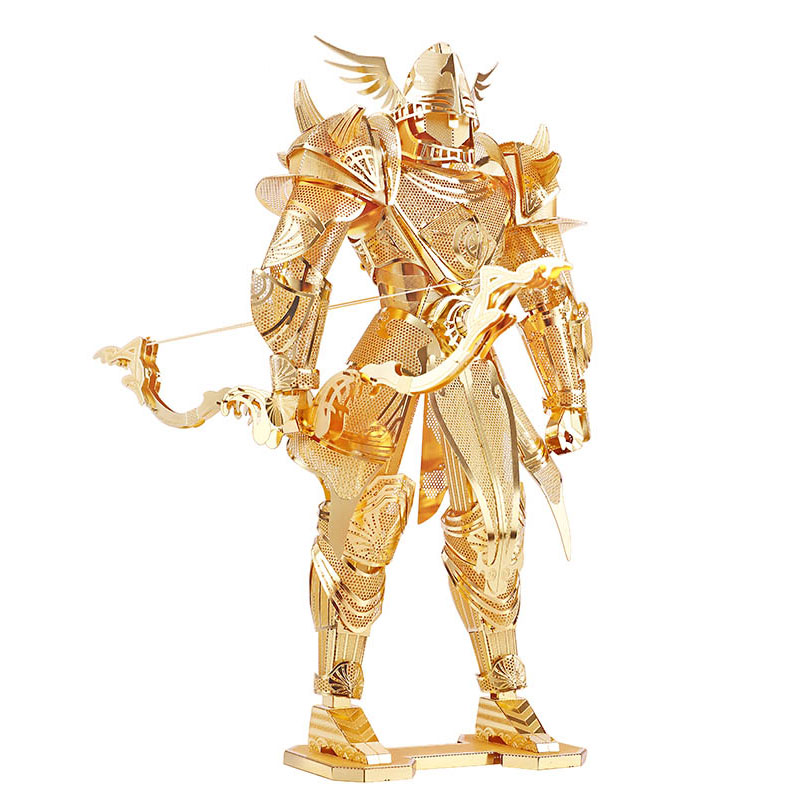 3D Metal Puzzle Knight of Firmament Armor Building DIY Laser Cut Toys Educational Model Gift For Kids Adults Gold 3d puzzle diy assembling car toys justice dawn batman batmobile metal model creative gift diy educational kids toys