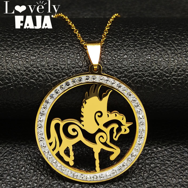 2018 Unicorn Stainless Steel Crystal Necklaces Women Gold Color Statement Necklace Jewelry joyeria de acero inoxidable N18560