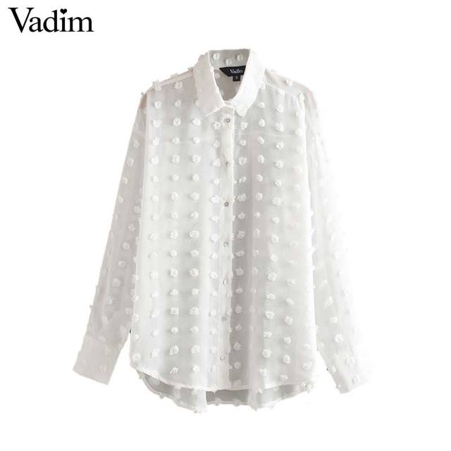 Vadim women elegant chiffon solid white irregular blouse long sleeve turn down collar buttons female chic office wear tops LB221 1