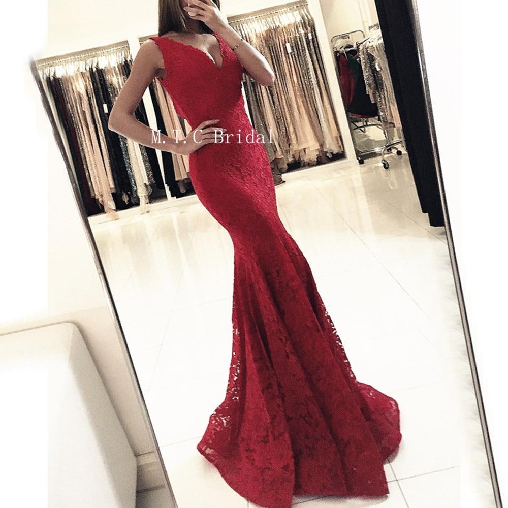 Dark Red Mermaid Lace   Prom     Dresses   V Neck Sleeveless Floor Length Long Elegant Evening Gown 2019 Custom Made Wedding Party   Dress
