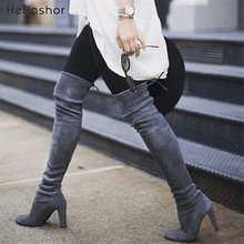 HEFLASHOR Plus Size Fashion Female Winter Thigh High Boots Faux Suede Leather Solid Heels Women Over The Knee Shoes