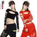 New Fashion dança hip hop top curto feminino Jazz traje recorte desgaste desempenho colete preto vermelho Sexy oco out trajes camisa