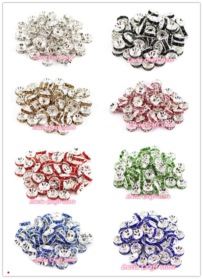 SALE! Lucia Crafts 8mm Multi colors options rhinestone Spacer Loose Beads Bracelet Accessories 12pcs/lot 079001017