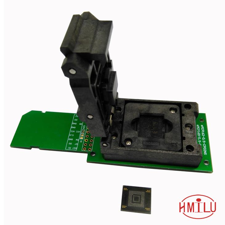 eMMC test socket with SD Interface,Clamshell Structure BGA153 BGA169 Chip Size 12x18mm Pitch 0.5mm for data recovery bga153 bga169 emmc test board programmer test block burning seat aging seat chip size 14x18 emmc169 153 development board
