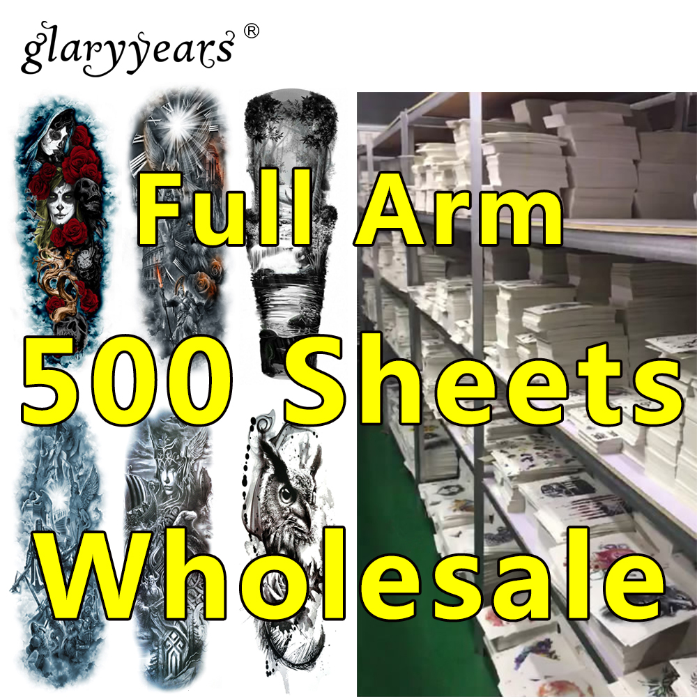 500 Pieces Wholesale Full Arm Tattoo Beauty Temporary Tattoo Henna Jewelry Decal Design Tattoos Sticker Makeup