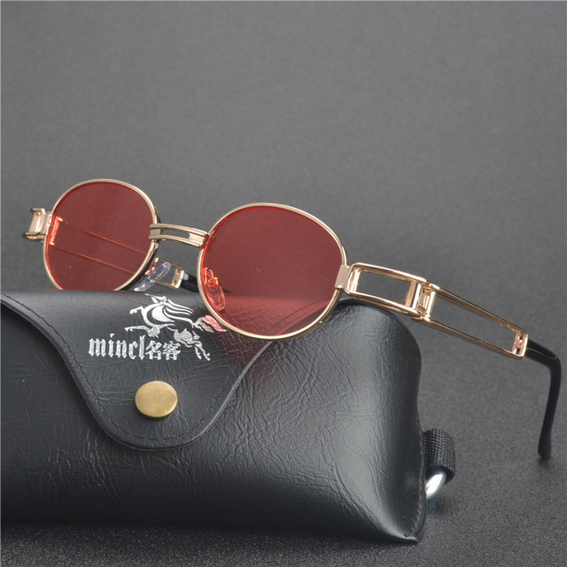 449492799f28 MINCL Vintage Designer Fashion Sunglasses Oval Frame UV Protection New  round Designer steam punk Metal