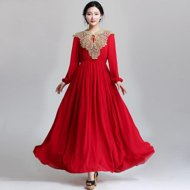 0863f130d359b Free shipping 2016 Ladies fashion design Islamic dress red chiffon maxi dress  muslim women islamic dress