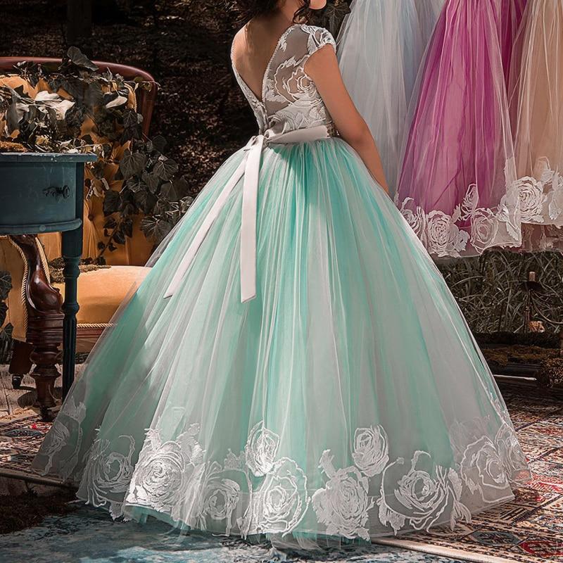 Elegant Kids Girl Long Dresses 4 6 8 10 to 12 14 Years Pearls Light Green