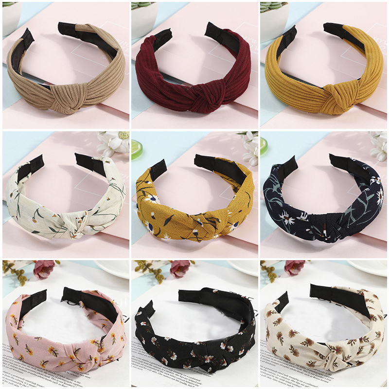 H:HYDE Korean Soft Suede Knotted Hairband Solid Color Headband For Women Summer Handmade Bowknot Hair Hoop Hair Accessories
