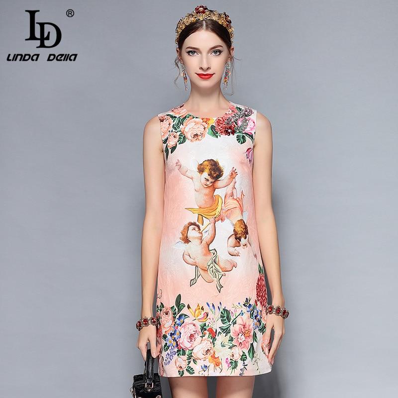 LD LINDA DELLA Nouveau 2018 Créateur De Mode Robe D'été de Femmes Sans Manches Cristal Perles Ange Imprimé floral Une Ligne Élégante robe