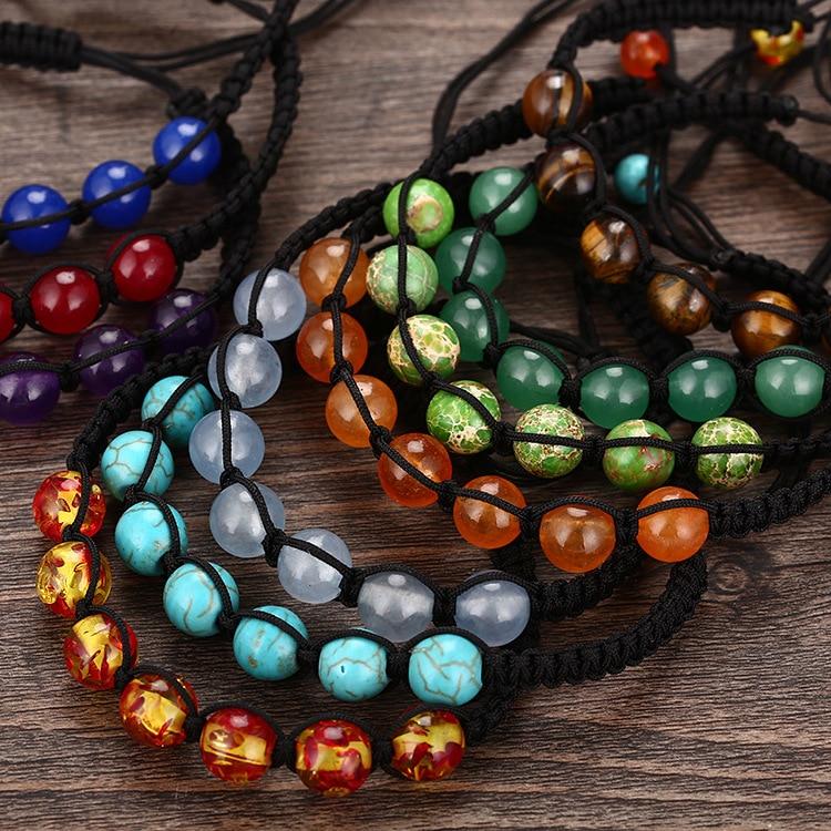 SEDmart DIY 7 rruaza shumëngjyrësh guri natyral Rrathë byzylyk - Bizhuteri të modës - Foto 2