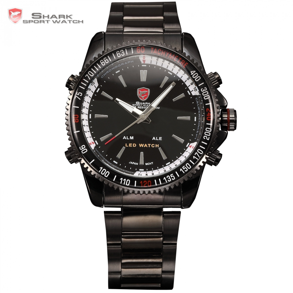 SHARK LED Dual Time Date Black Alarm Full Steel Strap Relogio Original Military Quartz Outdoor Men Digital Sport Watch / SH001 gulper shark sport watch red black digital steel band dual movement reloj de pulsera led date alarm men s quartz watches sh360