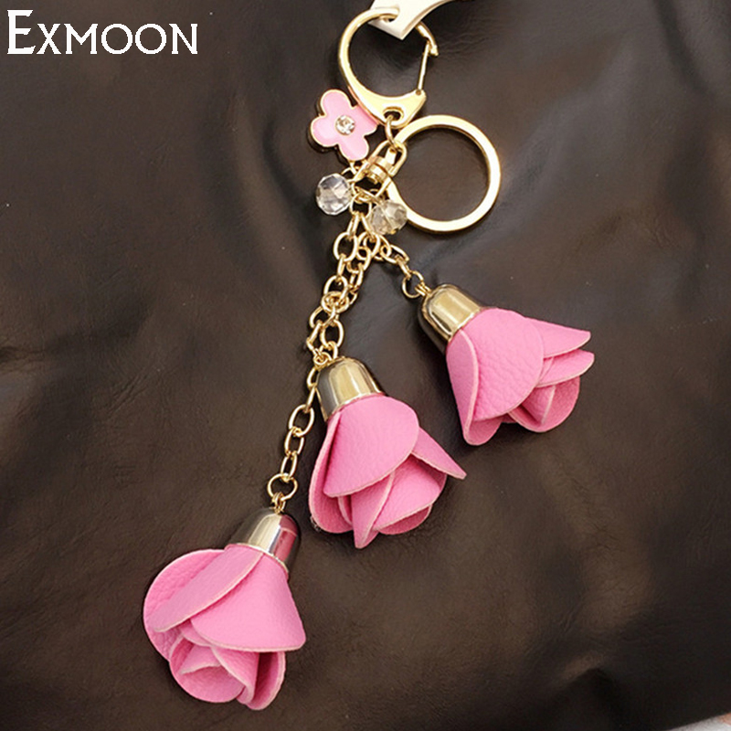 2pcs 2017 New arrival Leather Key Chains Women bag Pendant Car key Ring Holder Ornaments Jewelry KeyChain Lovely Tassel Keychain