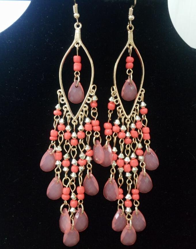 Fashion Resin Luxury Tassel Earrings For Women Black Long 6 Color Drop Earring Fringe Earings Jewelry Earing Brincos Wholesale