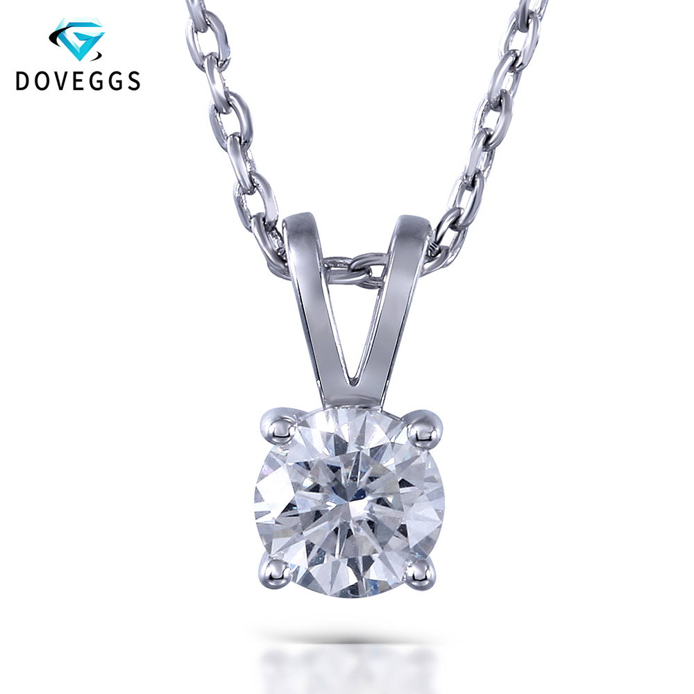 DovEggs 1ctw GH Color Lab Grown Moissanite Diamond Pendant Necklace For Women Platinum Plated 925 Sterling Silver Chain Neclace transgems 1 3ctw princess cut lab grown moissanite diamond engagement wedding ring platinum plated 925 sterling silver
