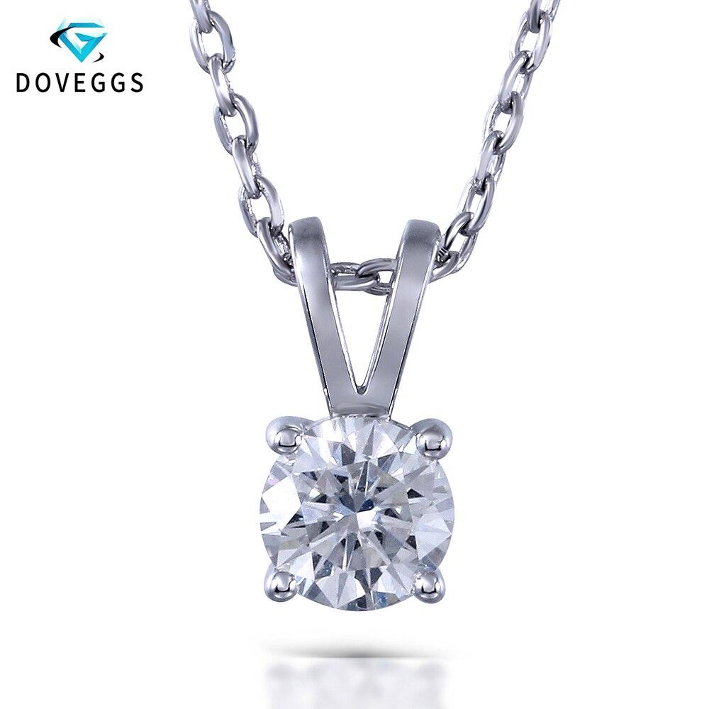 DovEggs 1ctw GH Color Lab a cultivé Moissanite diamant pendentif collier pour les femmes Sterling solide 925 argent chaîne Neclace