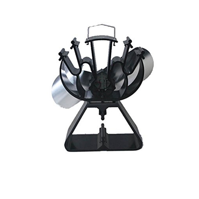 2 Blades Heat Powered Stove Top Fan Efficient Heat Distribution Fireplace Fan Quiet Eco Triangle-Shaped Base More Secure
