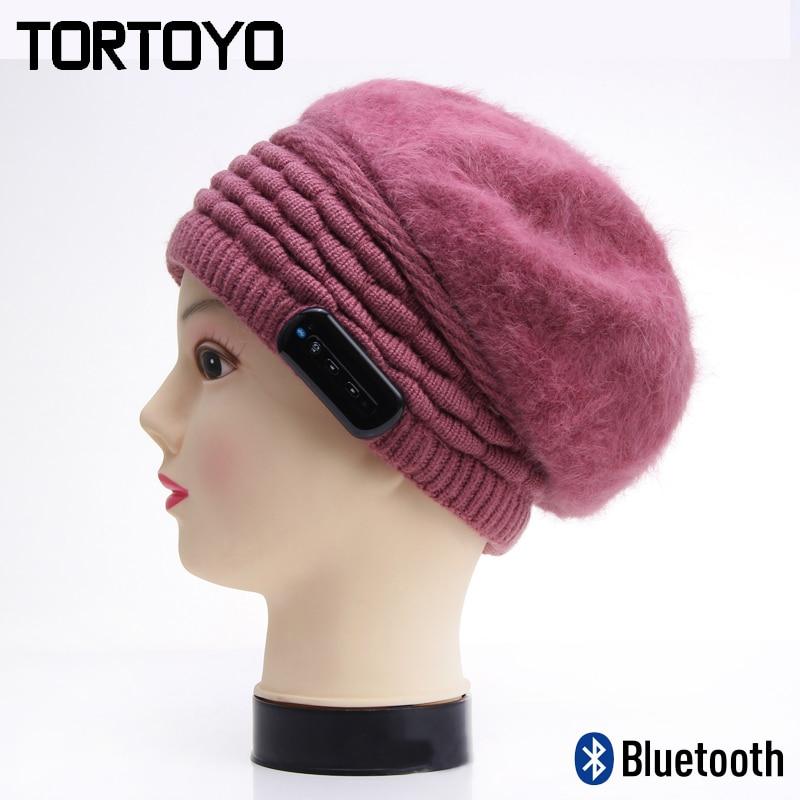 Intelligent Warm Winter Woolen Knit Smart Wireless Bluetooth Music Hat Earphone Headset Headphone Cap with Mic Lady Year Gift unisex women winter plicate baggy beanie knit crochet ski cap oversized slouch hat 1p8n