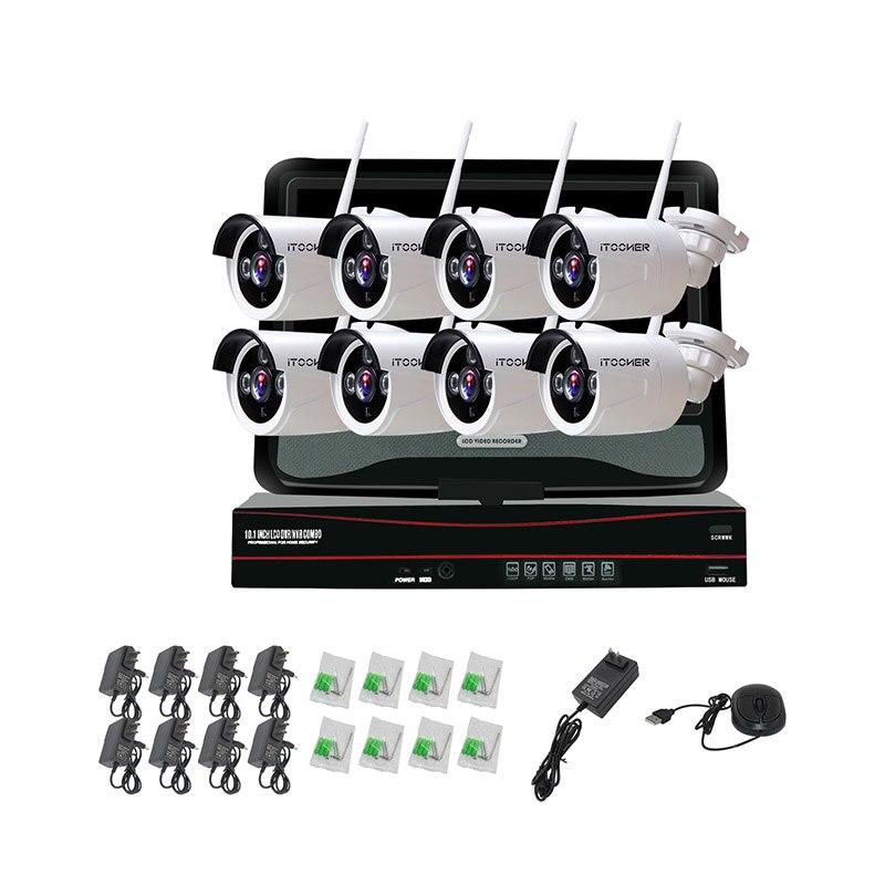 Wifi NVR Surveillance Kit Plug Play P2P 8CH 1.0MP 30 m Vision nocturne Imperméable À L'eau En Plein Air Sans Fil NVR Caméra CCTV Ensemble IP caméra