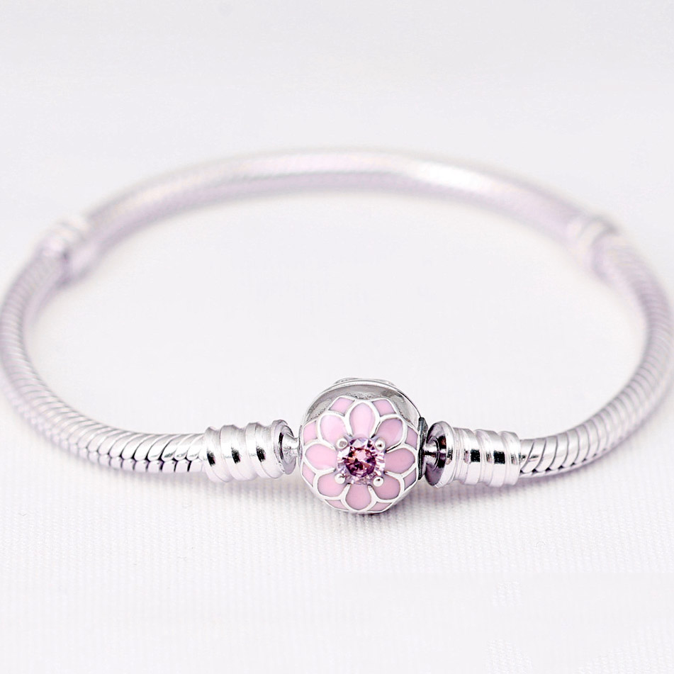 New 925 Sterling Silver Bracelet Pink Blooming Dahlia Clasp Snake Chain Basic Bracelets Fit Women Bead Charm DIY Pandora Jewelry 925 sterling silver snake chain basic bracelets charms heart clip blue pink purple crystal clasp fit women diy bracelets