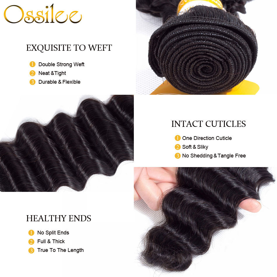 Ossile Loose Deep Wave Bundles with Closure Peruvian Hair Bundles with Closure Human Hair Bundles with Closure Non Remy Hair
