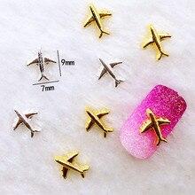 10 шт./лот, 7*9 мм, золото, серебро, самолет, 3D, сделай сам, металлический сплав, украшения для ногтей, наклейки для ногтей, ювелирные аксессуары