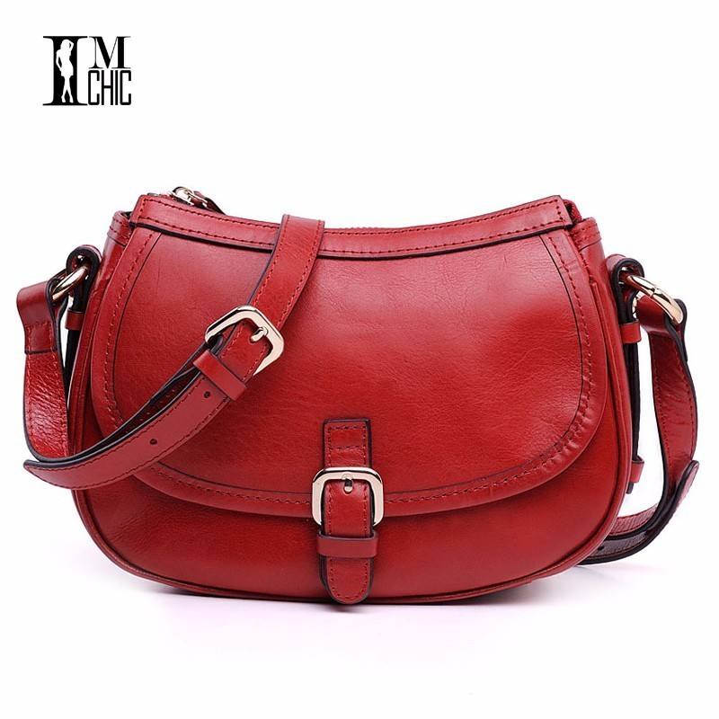 IMCHIC Women Messenger Bags Genuine Leather Lux Saddle Crossbody Real Cowhide Lady Small Shoulder Handbags Casual Vintage Oilwax women genuine leather shoulder bag tassel messenger bags real leather cowhide spring summer shoulder bags small crossbody bags