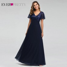 Party-Gowns Short-Sleeve Embroidery Evening-Dresses Ever Pretty Lace Chiffon Wedding