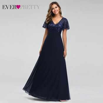 Evening Dresses Long Ever Pretty EZ07706 Elegant Navy Blue A-line Short Sleeve Chiffon Lace Embroidery Party Gowns for Wedding - DISCOUNT ITEM  40% OFF All Category