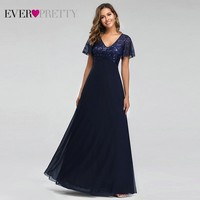 Evening Dresses Long Ever Pretty EZ07706 Elegant Navy Blue A line Short Sleeve Chiffon Lace Embroidery Party Gowns for Wedding